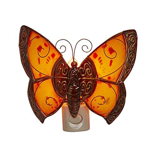 DecoFLAIR Capiz Shell Plug-In Night Light Butterfly Night...