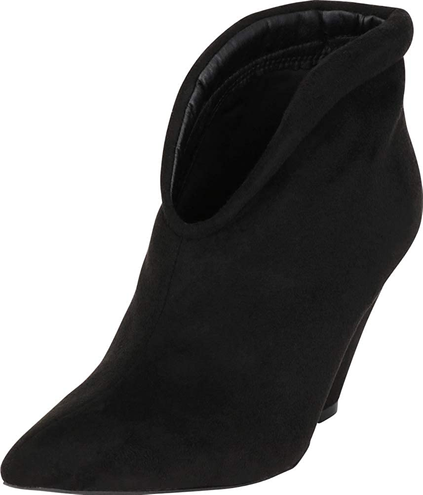 Black Imsu Cambridge Select Women's Pointed Toe Front V Cutout Chunky Cone Heel Ankle Bootie