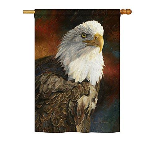 - Breeze Decor WL-H-110060-IP Portrait of an Eagle Nature Everyday Wildlife Impressions Decorative Vertical House Flag, 28