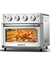 AUMATE Air Fryer Oven, Airfryer Toaster Oven,19QT Oil Free Electric Hot Air Fryers Oven,Convection Roaster Oven, Rotisserie Oven, Countertop Oven with Rotisserie,Dehydrator, 4 Accessories,1500W, Black