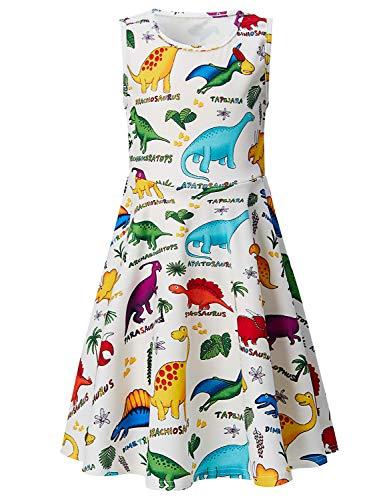 Goodstoworld 5T Dresses for Girls Dinosaur Dress Stylish Colorful 4t Sleeveless Summer Dresses School Themed Party Twirl Dresses Cute Cartoon Print Swing Dress 4-5 Years -