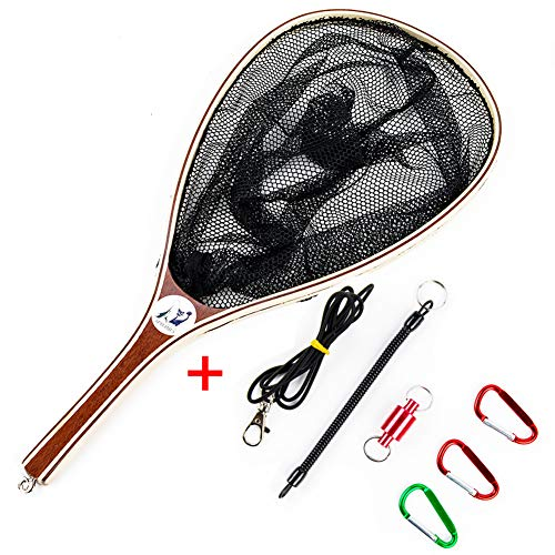 Sptlimes Fly Fishing Landing Net Soft Nylon Mesh Catch and Release Net for Trout Kayak Boating