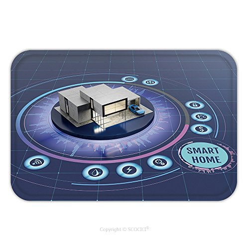Flannel Microfiber Non-slip Rubber Backing Soft Absorbent Doormat Mat Rug Carpet Concept Of Smart Home Or Internet Of Things Technology Scale Model Of Contemporary House On The 521966446 for Indoor/Ou