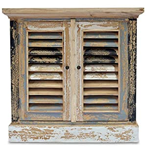 WHW Whole House Worlds Boatyard TV Cabinet, Shutter Doors, Rustic Creamy White, Weathered Teal, Gray, Black and White…