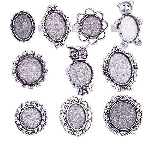 20pcs Antique Silver Round Oval Cabochon Opening Adjustable Rings Settings Finger Ring Components Iron Cabochon Bezel Settings for Ring Making (Antique ()