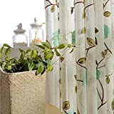 Cheap Rustic Country Floral Sheer Curtain for Sliding Glass Door Rod Pocket Top Window Drape Embroidered Plant Leaf Voile Curtain Linen Polyester Blend Curtain for Bedroom 1 Panel Tulle 114″ W x 96″ L
