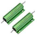 uxcell 2 Pcs Aluminum Case Resistor 100W 100 Ohm Wirewound Green for LED Replacement Converter 100W 100RJ