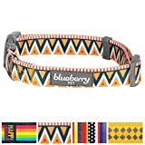 Blueberry Pet Elite Basic Dog Collar with Flame Stitch and Henley Stripes, Neck 7.5