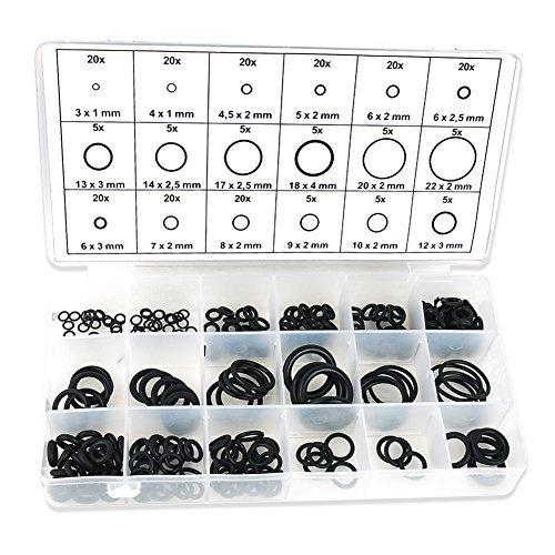 INHDBOX 225 HNBR-O-Ring-Satz Ø 3-22 mm KFZ-Klimaanlage Dichtring Dichtung Temperaturständig Schwarz R134a Klimaleitungen Klimaanlage (im Aufbewahrungsbox / Sortimentsbox)