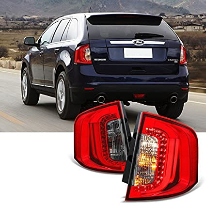 Amazon Com For Red Smoke   Ford Edge Led Tube Style Tail Lights Left Right Side Assembly Pair Automotive