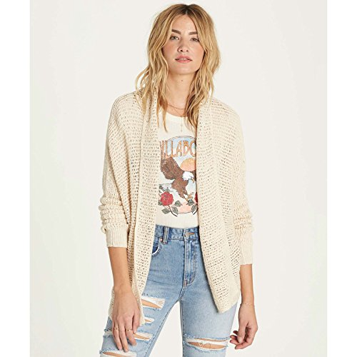 Cap Sleeve Cotton Sweater (Billabong Women's Shake Down Dolman Sleeve Cardigan Sweater, White Cap, M)