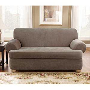 Taupe stretch pique 2 piece t cushion loveseat for Furniture xo out of business