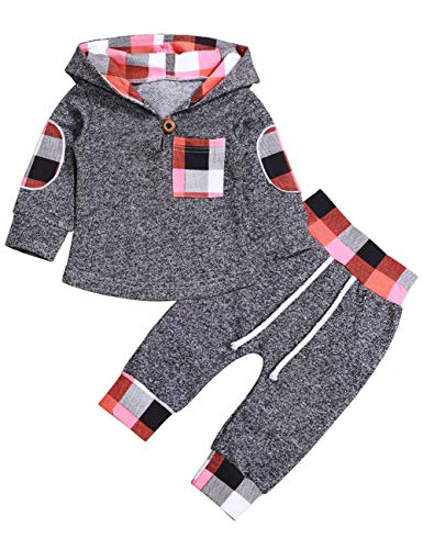 Toddler Infant Baby Boys Girls Stylish Plaid Floral Pocket Hooded Sweatshirt Coat, Kids Jackets Tops +Pants Outfit Sets(0-6