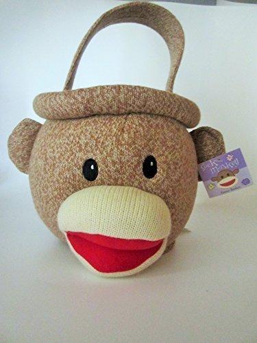 Sock Monkey Easter Basket - brown