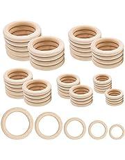 Houten ringen, 50 stuks natuurlijke houten ringen voor ambachtelijke 5 maten ronde ringen voor ambachtelijke doe-het-zelf sieraden bevindingen Macrame kunst en ambachtelijke decoraties (35mm, 40mm, 45mm, 50mm, 55mm)