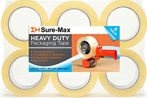 Sure-Max Premium Thick Carton Packing Tape 2.6 mil 165 Feet (55 yards) - Clear - 6 Rolls