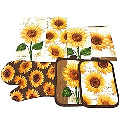Mainstay Sunflower Kitchen Set Includes 2 Kitchen Towels, 2 Pot Holders, 1 Oven mitt & 2 dishcloths