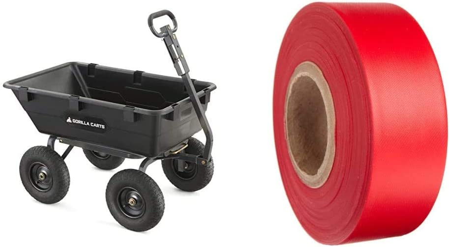 Gorilla Carts Heavy-Duty Poly Yard Dump Cart   2-in-1 Convertible Handle, 1200 lbs Capacity & Brady Red Flagging Tape for Boundaries and Hazardous Areas, 1.188