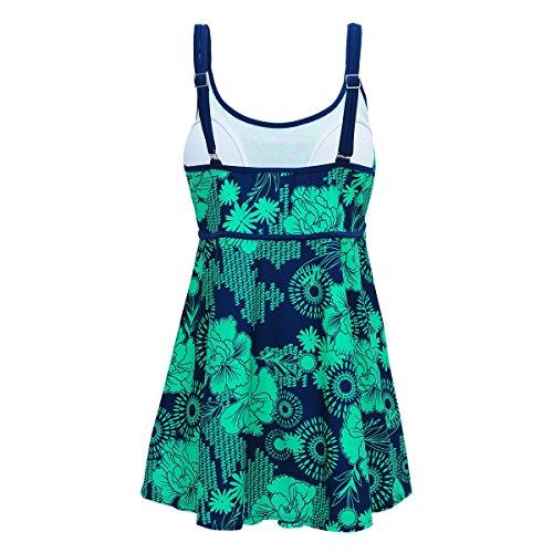Shangrui Mujer Traje de Baño de la Serie Impreso Plus Sujetador Acolchado Tamaño Grande Traje de baño Vestido(FZWH16061) 61Verde