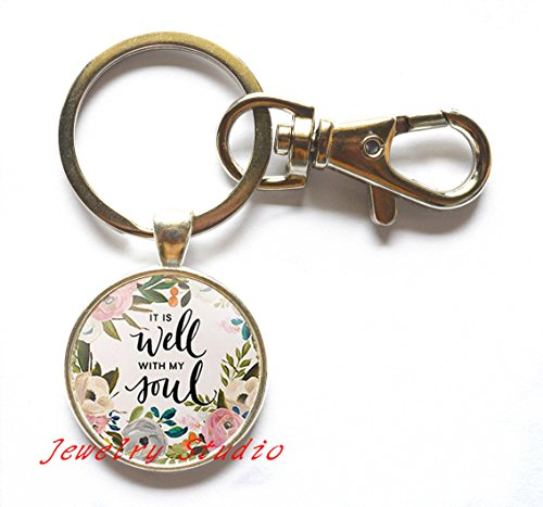Charming fashion Keychain,It is well with MY Soul Keychain Quote Faith Inspirational Women Men Christian Jewelry Gifts,photo Key Ring art Key Ring photo jewelry art jewelry glass jewelry-HZ00133 ()