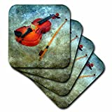 3dRose cst_10887_2 Violin by Angelandspot-Soft Coasters, Set of 8