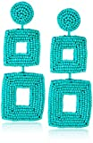 Kenneth Jay Lane Turquoise Seed Bead Open Double Square Shape Drop Earrings