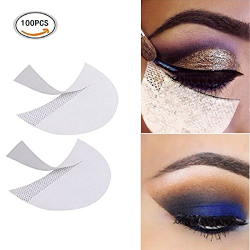 LKE 100 Pcs Eyeshadow Shields Professional Lint Free Under Eye Eyeshadow Gel Pad Patches For Eyelash Extensions/Lip Makeup by LKE