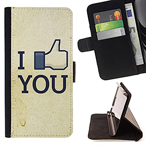 For Samsung Galaxy Note 4 IV,S-type Funny I Like You FB - Drawing PU Leather Wallet Style Pouch Protective Skin (I Pocket Covers For Samsung Note4)