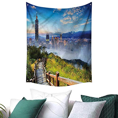 Cosmopolitan Wall Maps (sunsunshine Scenery Wall Tapestry City Cosmopolitan Life 51W x 60L INCH,Home Decorations for Living Room Bedroom)
