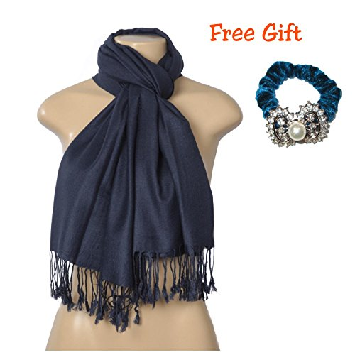 C-More Elegant Pashmina Silk Blend Soft Wrap Scarf Shawl For Women -30+ Solid Colors (Navy)