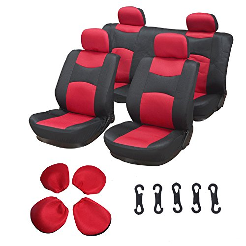 Freestar Van Ford (ECCPP Universal Car Seat Cover w/Headrest - 100% Breathable Mesh Cloth Stretchy Durable for Most Cars Trucks Vans(Red/Black))