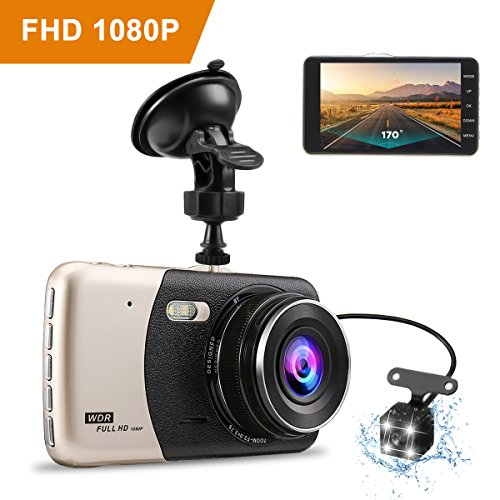 Dash camera for car,Dash cam,Tvird Full HD 1080P with IPS Screen 4″,Front and Rear Dual Channel Dashboard,170 Degree Wide Angle with Supreme Night Vision,G-sensor,Motion Detection,WDR, Loop Recording