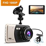 Dash camera for car,Dash cam,Tvird Full HD 720P with IPS Screen 4,Front and Rear Dual Channel Dashboard,160 Degree Wide Angle with Supreme Night Vision,G-sensor,Motion Detection,WDR,Loop Recording