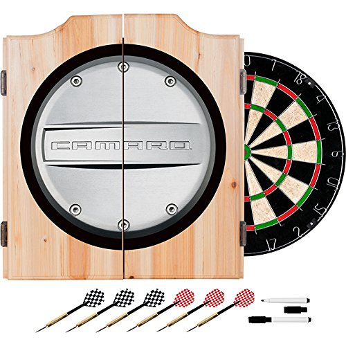 Chevy Camaro Design Deluxe Wood Cabinet Complete Dart Set by TMG