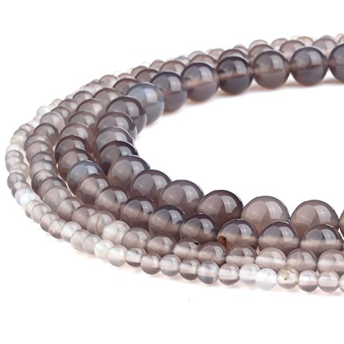 (RUBYCA Wholesale Natural Gray Agate Gemstone Round Loose Beads for Jewelry Making 1 Strand - 6mm)