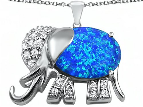 Star K 12x10mm Oval Blue Created Opal Good Luck Elephant Pendant Necklace Sterling Silver