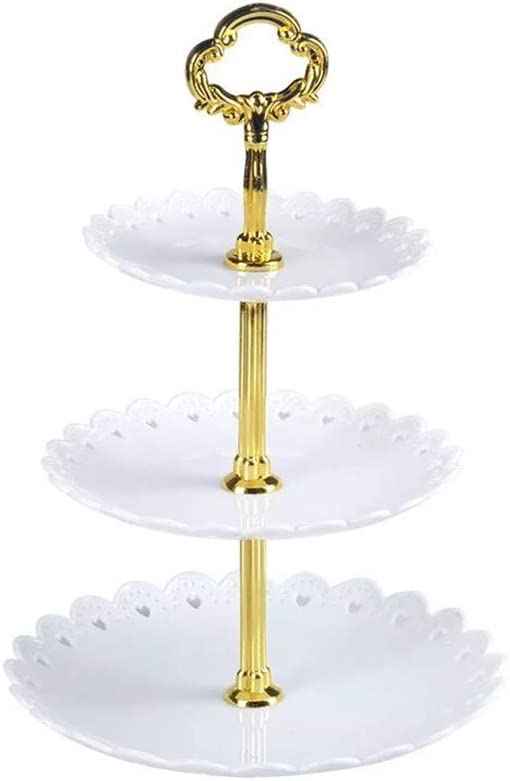 Artliving 3-tier Plastic Cake Stand-Dessert Stand-Cupcake Stand-Tea Party Serving Platter White Gold