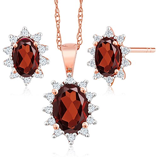 18K Rose Gold 1.32 Ct Oval Red Garnet and Diamond Pendant Earrings Set