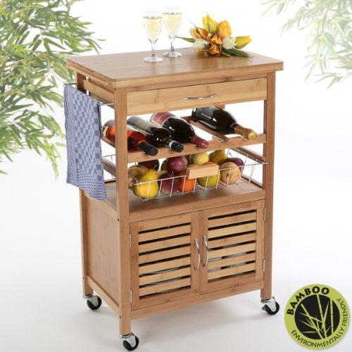 Torrex 39459 Küchenwagen - Servierwagen - Küchentrolley aus Bambus 88 x 36 x 60 cm mit Schublade Weinregal