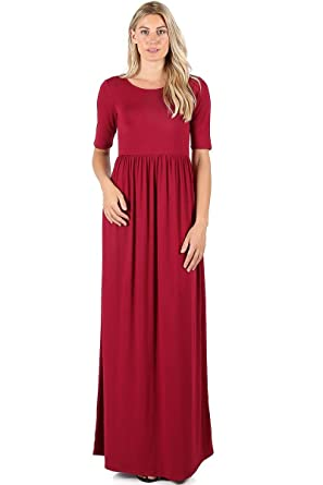 1be00d1a58b2 Zenana Premium 7011 Casual Women's Long Maxi T-Shirt Dress with Half Sleeves  and Pockets at Amazon Women's Clothing store: