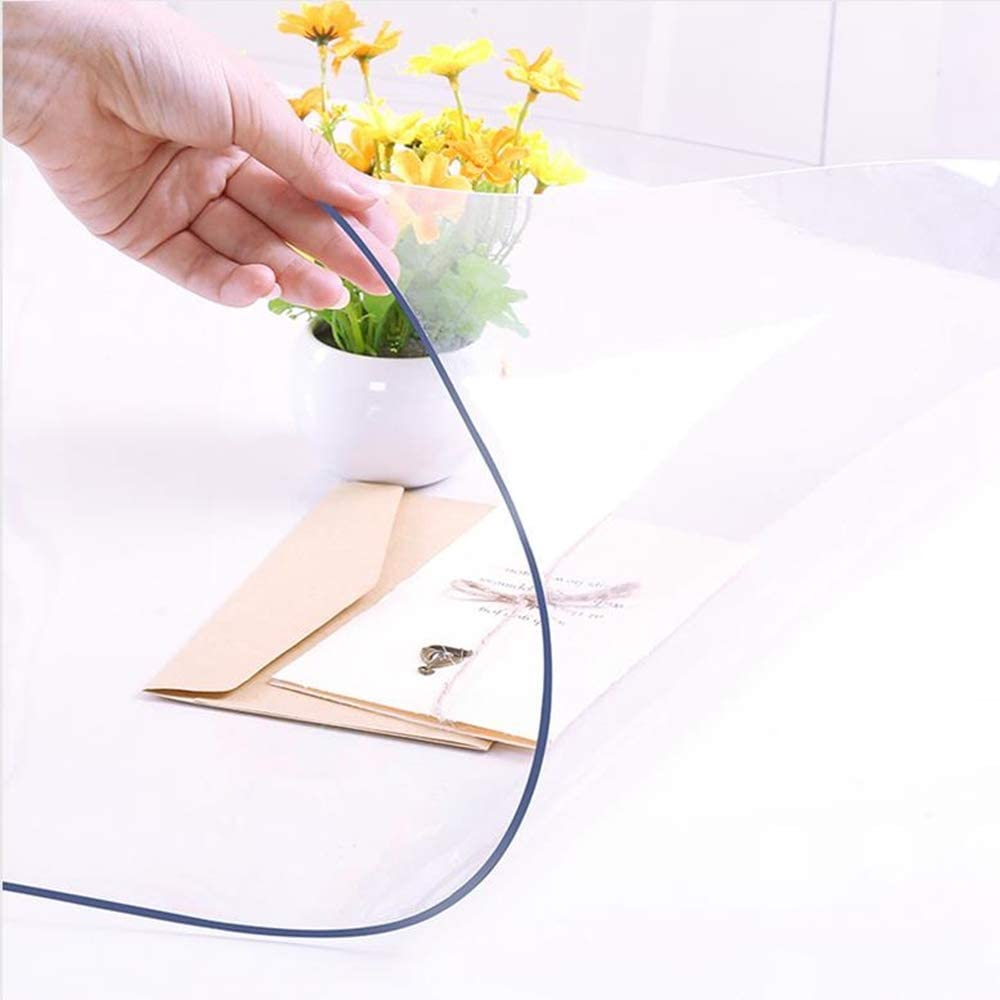 NECAUX Custom Multi-Size 1.5mm Thick Clear PVC Table Cover Protector - 20 x 48 Inch Rectangular Plastic Table Cover Desk Pad Mat for 4 Foot Office, Computer, Sofa Table: Home & Kitchen