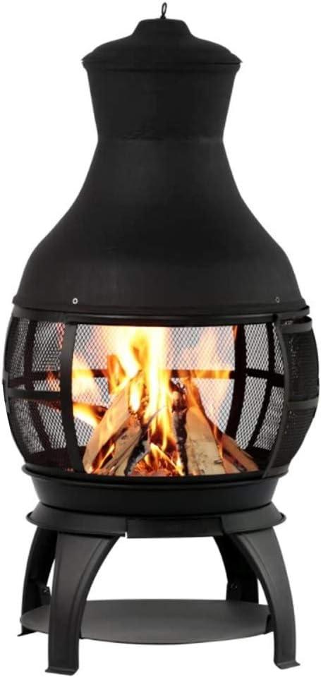 lyrlody Chimenea de hierro forjado, hoguera de hierro forjado, estufa de leña, hoguera con tenedor para jardín al aire libre, 25,5 x 46 x 107 cm