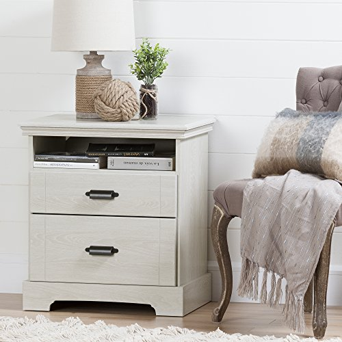 South Shore Avilla 2-Drawer Nightstand, Winter Oak with Metal Handles