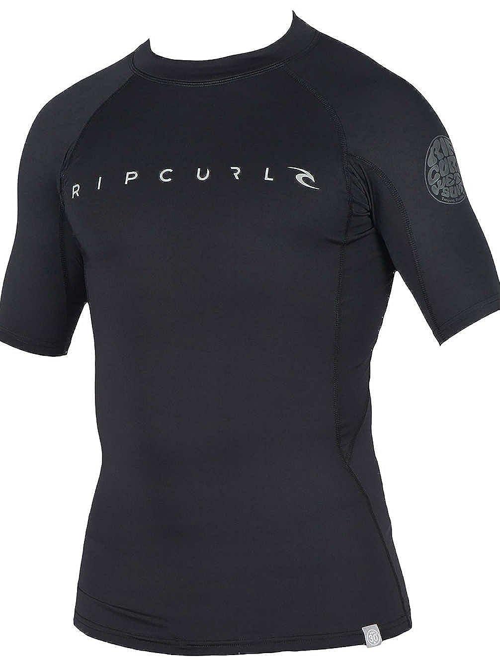 RIP CURL Mens Dawn Patrol Short Sleeve Rash Vest Black WLUGDM Size L