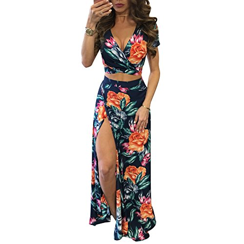 Gobought Womens 2 Piece Outfits Summer Floral Beach Crop and Side Slit Skirt