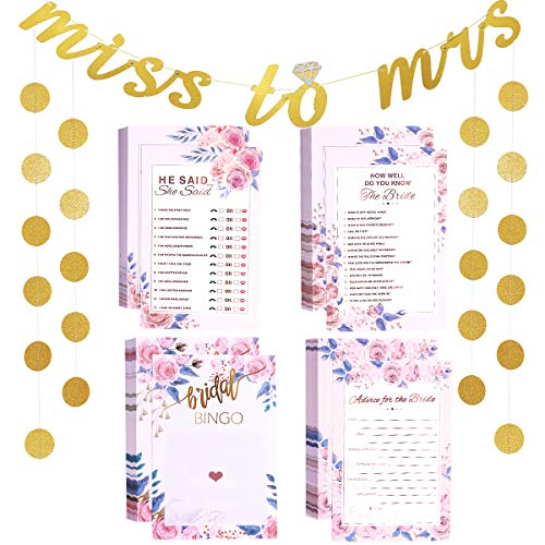 Unomor Bridal Shower Games Card Pack with Banner, Circle Garland, How Well Do You Know The Bride(50), He Said She Said(50), Bridal Bingo(50), Advice Card(50) (Bridal Shower Game) ()