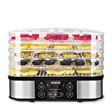 SUNGLIFE Food Dehydrator Machine with Timer, 5 BPA-Free Trays Automatic Food Drying Machine, Digital Temperature, 48 Hour Timer, LCD Display