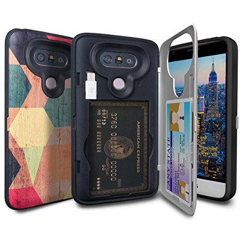 (TORU CX Pro LG G5 Wallet Case Pattern Coloful with Hidden ID Slot Credit Card Holder Hard Cover, Mirror & USB Adapter for LG G5 - Wood Geo)
