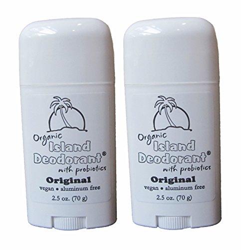 Organic Island Deodorant, 2 Pack, Probiotic Deodorant Stick, Natural, Aluminum-free, Unscented, Vegan (Two Sticks) by Island Deodorant