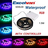 Excelvan 1.5M/4.9FT IP65 Waterproof Flexible Color Changing RGB SMD 5050 45 LEDs DC 5V Battery-powered LED Strip Light with Mini Controller